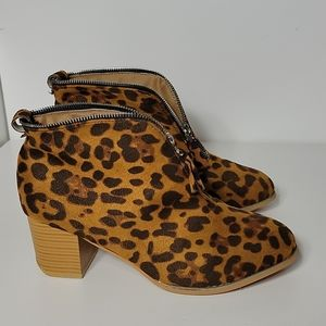 Animal Print Zippered Ankle Boots, Like New